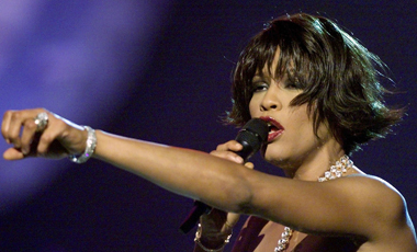 File photo of Whitney Houston before winning for Best Female R&B Vocal Performance at the 42nd annual Grammy Awards